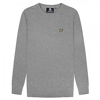 Lyle & Scott Grey Marl Crew Neck Basket Weave Jumper KN1359V