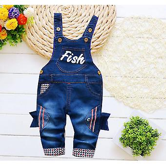 Newborn Baby Trousers, Infant Cotton Cute Jeans, Little Suspenders Denim Pants