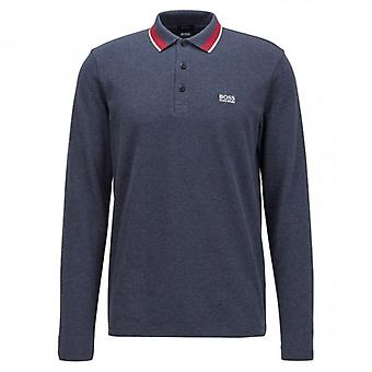 Boss Green Hugo Boss Plisy Plain Long Sleeved Pique Polo Navy 417 50272945