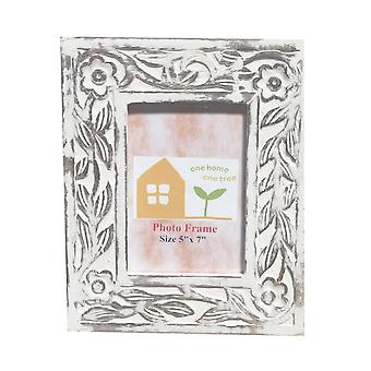 Flowers Carved Wooden Picture Photo Frame