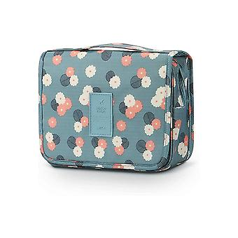 Sac de toaletă și sac de make-up cu buzunare interioare Albastru / Flori