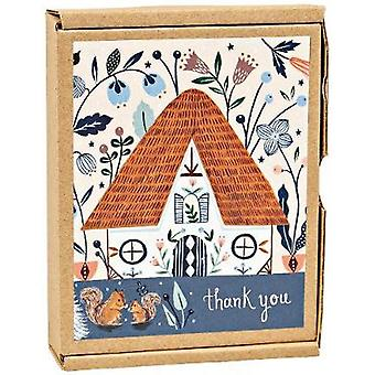 Notecards  Cozy Cabin Green Thanks