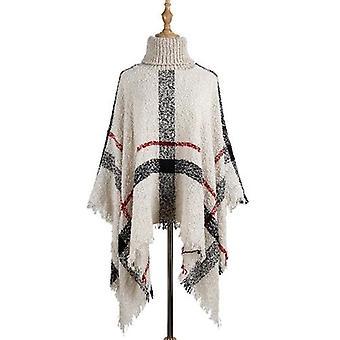 Frauen Turtleneck stricken Ponchos Capes Pullover