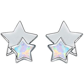 925 Sterling Silver Small Stud Earrings Synthetic Opal Earrings for Women Girls