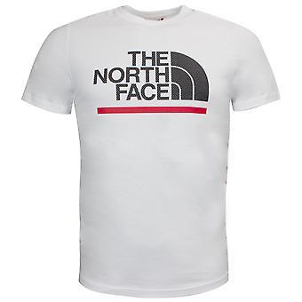 North Face Mens SS Ääriviivat Tee Graafinen Logo Valkoinen Yläosa NF0A4SR3FN41