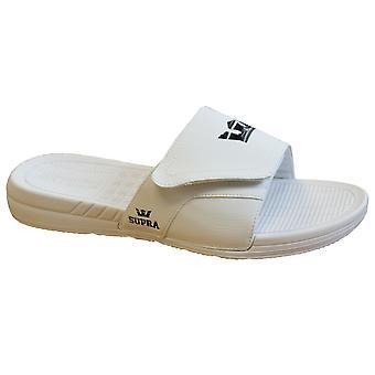 Supra Locker Mens Slide Slip On Flip Flop White Hook & Loop Sandal 05917 100