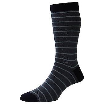 Pantherella Barrington Jacquard Birdseye Stripe Fil D'Ecosse Socks - Navy