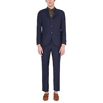 Lardini El493ae840 Men's Blue Wool Suit