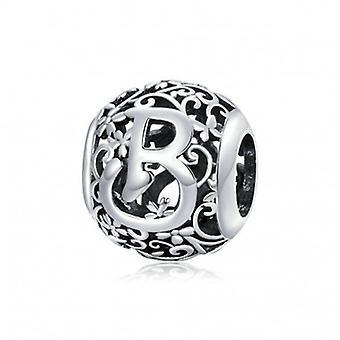 Sterling Silver Alphabet Charm Romantic Letter B - 6952