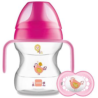 Mam learn to drink cup pink 190ml with handles and soother