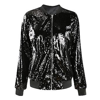 Kvinder 's Trend Sequin Syning Beskåret Top Jacket Button Nightclub