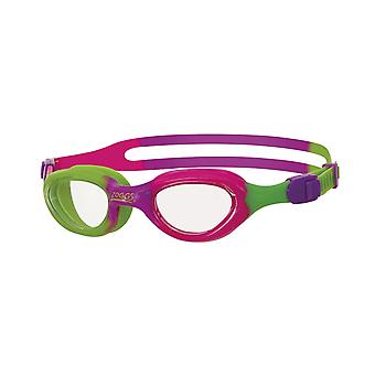 Zoggs Little Super Seal Swim Goggle 0-6yrs- Clear Lens - Pink/Green