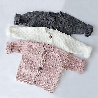 Baby Winter Tops Solid Clothing Long Sleeve O-neck Cardigan Sweater
