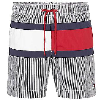 Tommy Hilfiger Core Flag ITHACA Medium Drawstring Swim Shorts, ITHACA Navy Blazer / Snow White, Small