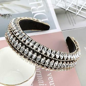 Full Crystal Luxury Otsapanta Hiusnauhat Kimaltelevat pehmustetut tekojalokivet