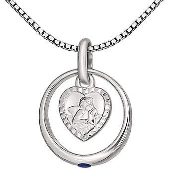 FengChun Set Silberner Taufring mit Stein safirblau und Engel herzfrmig und Kette Venezia 36 cm