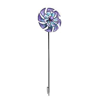 45 بوصة الأزرق الأرجواني المعدنية الرياح الدوار حديقة الديكور في الهواء الطلق الحركية يارد الفن