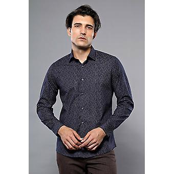 Dark blue floral shirt   wessi