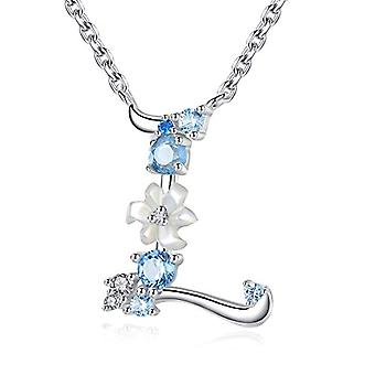 Gemshadow initial Sterling 925 silver necklace with zircon letter personalized gifts for girls and 925, cod. AQEN000063