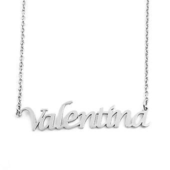 """L Valentina - Verstelbare ketting met aangepaste naam, zilvertint, 16""""- 19"""