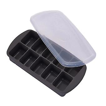 10 Grids Ice Cube Tray With Lid Silicone Fruit Ice Cube Maker DIY Creative Ice Cube (Black)