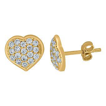 10k geelgouden mens CZ cubic zirconia gesimuleerde diamant liefde hart stud oorbellen sieraden geschenken voor mannen