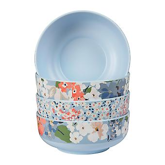 4x Cena al aire libre Tazones de melamina estampado picnic vajilla 15cm Azul Floral