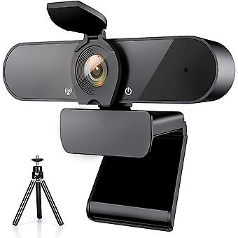 1080P Webcam, Web Camera with Microphone and Tripod and Privacy Cover, Full HD Laptop Webcam 360 Degree Panoramic Webcam for Recording, Calls(Black)