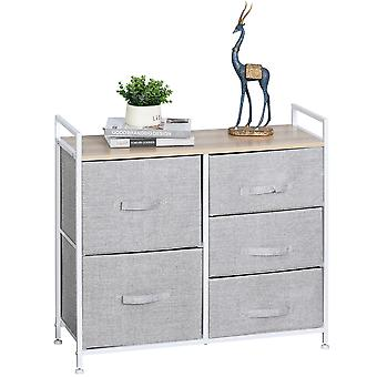 HOMCOM 5 Drawer Linen Basket Storage Unit Home Organisation w/ Shelf Handles Metal Frame Adjustable Feet Hallway Home Dresser Grey