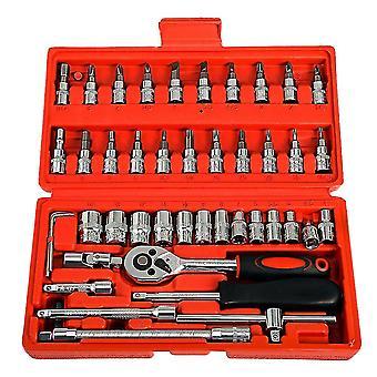 46 PCs車修理ツールソケットセット車の修理車のトルクレンチコンボボックスのキット(赤)