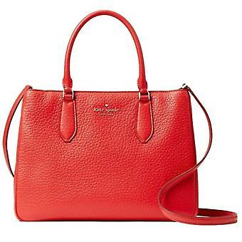 Kate Spade Leighton Red Leather Large Satchel Crossbody Bag WKR00168
