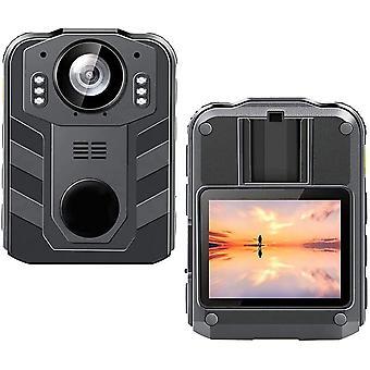 Käsikäyttöinen poliisikamera HD Police Camera 1296P Kädessä pidettävä kamera tuki, 36 miljoonaa pikseliä, 2650mA, infrapuna yönäkö, vedenpitävä toiminto (musta)