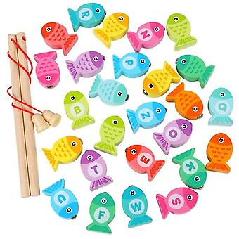 Letter Number Game Educational Toy Fish Wooden Magnetic Fishing  Toys
