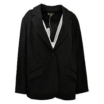 DG2 by Diane Gilman Women's Plus Suit Jacket/Blazer Crepe Black 707-724
