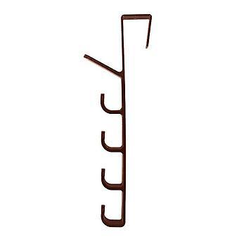 (Brown) Home Over The Door Hanger Hook Clothes Storage Holder Towel Hanging Rack 5 Hooks