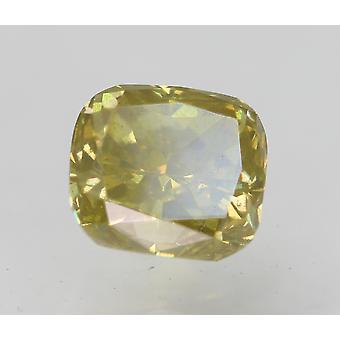 Cert 0.52 Carat Fancy Vivid Yellow VS2 Cushion Natural Diamond 4.61x4.14mm 2EX