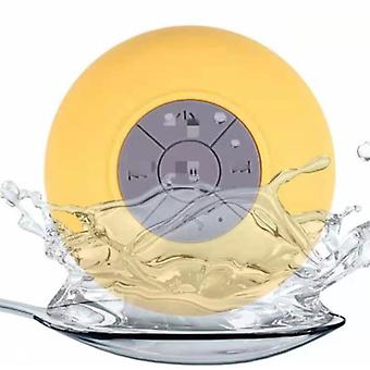 Bluetooth shower speaker, portable wireless shower speaker with suction cup built-in microphone(Yellow)