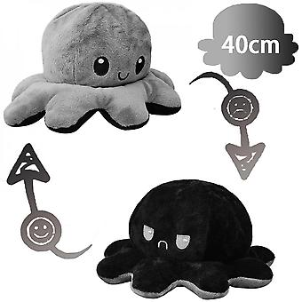 40cm Giant Reversible Octopus Stuffed Animal Reversible Happy Sad Octopus Plush Toy Show Your Mood Without Saying A Word! Black And Gray