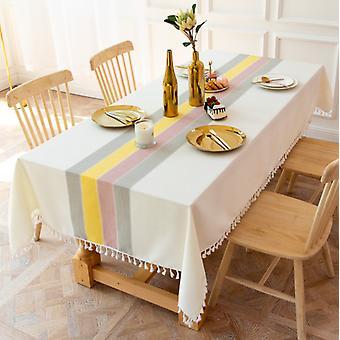 Einfacher Stoff gestreifte Tischdecke, Spleiß Baumwolle Leinen Staubdichte Tischmatte, Home Kitchen Dekoration Rechteckige Tischdecke (140 * 140cm, Farbe)