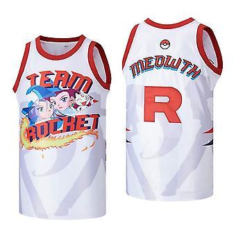 मेंस टीम रॉकेट Meowth कार्टून बास्केटबॉल जर्सी सिले खेल टी शर्ट आकार एस-xxl