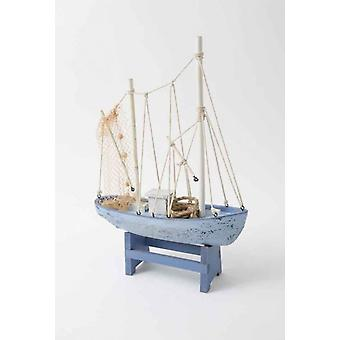28cm Elegant Netted Wooden Trawler Boat Ocean Lovers Ornament Decoration