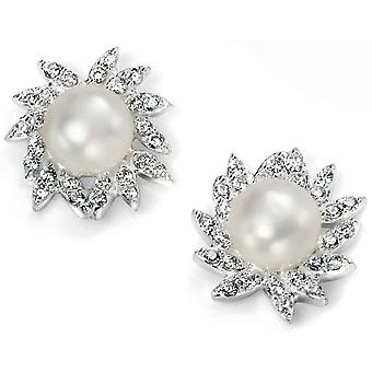925 Silver Pearl And Zirconium Earring