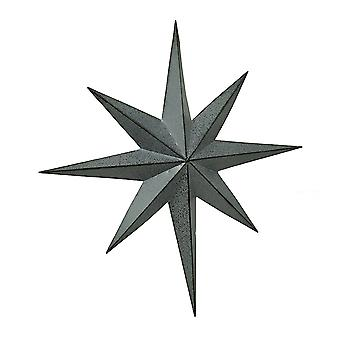 Rustikale verzinkt Finish Metall 8 zeigte Star Wandbehang 25 Zoll