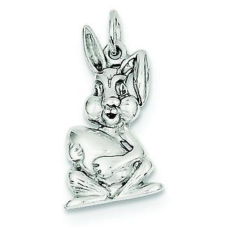 925 sterling sølv solid poleret åben tilbage påske bunny Charm-1,9 gram