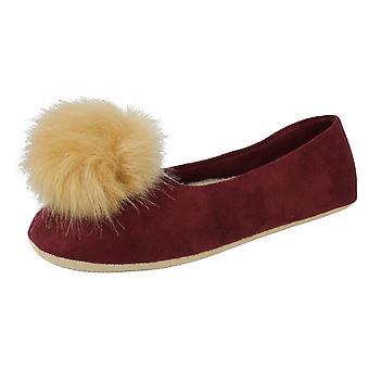 Ladies Clarks Slippers With PomPom Cozily Warm - Burgundy Textile - UK Size 4D - EU Size 37 - US Size 6.5M