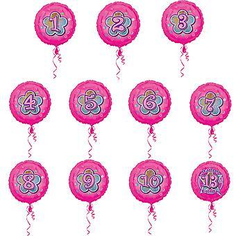 Amscan 18 Inch Floral Glitter Design Circular Foil Birthday Age Balloon