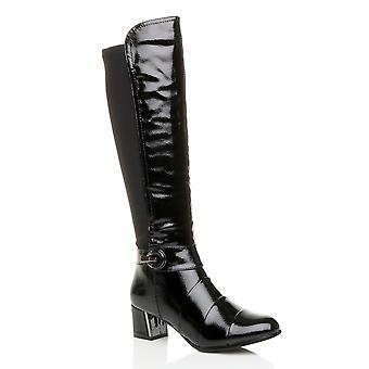 Ajvani Womens Mitte ausgestellte Block Heel Zip Schnalle dehnen geschichteten Kalb Stiefel