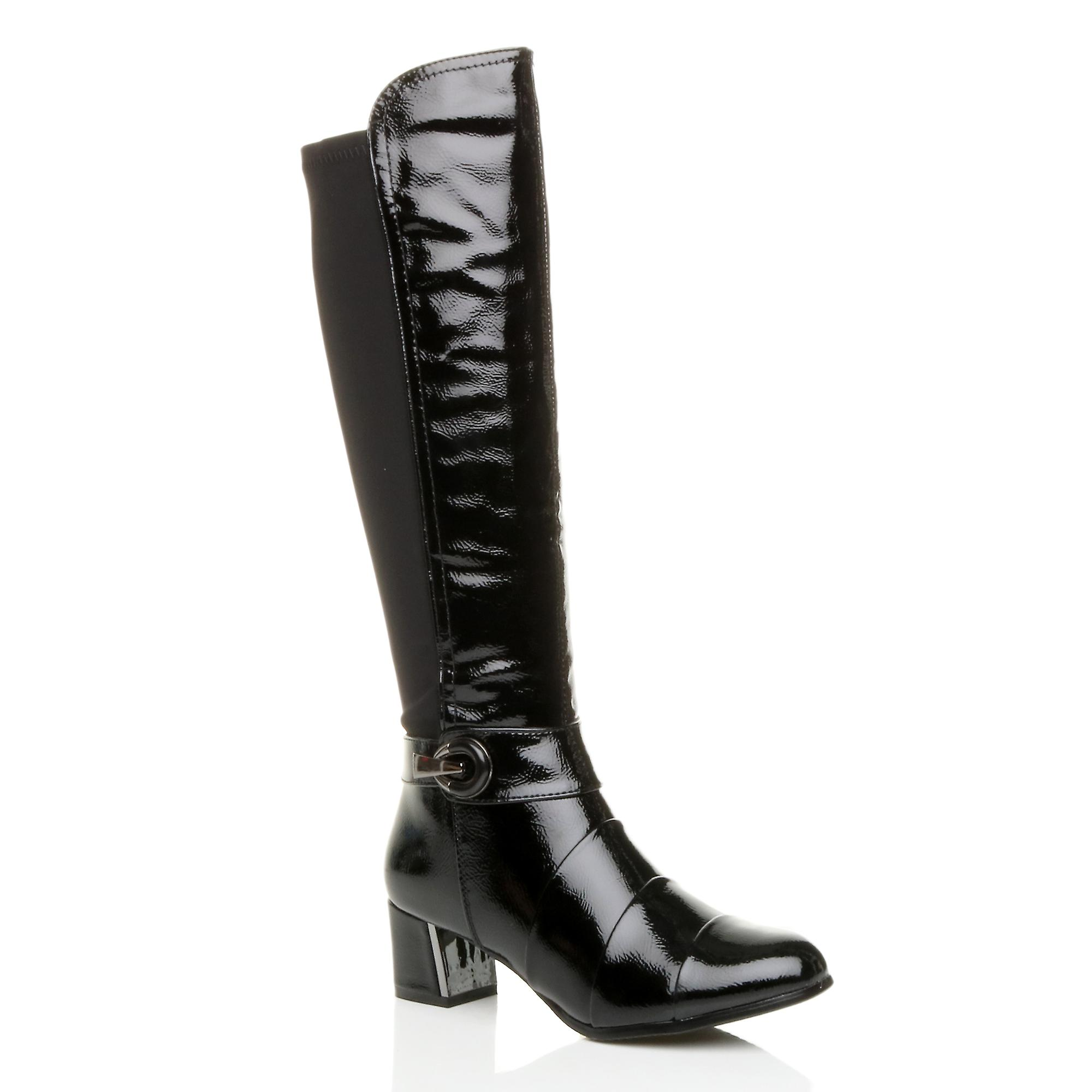 Ajvani womens mid flared block heel zip buckle stretch layered calf boots UkVrS