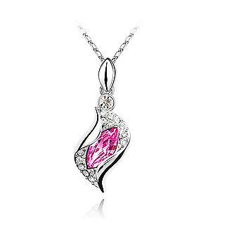 Womens Pink Stone Leaf Pendant Necklace Crystal Stone BGCW38