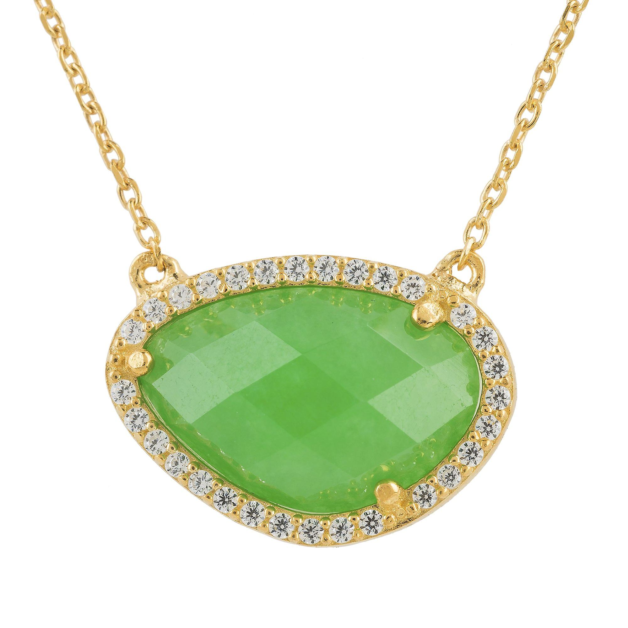 Latelita Dark Green Onyx Emerald Gemstone Pendant Necklace Gold Sterling Silver